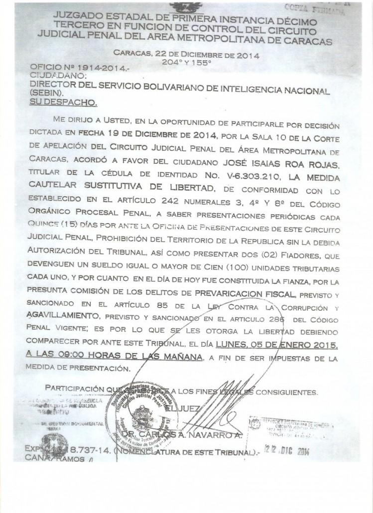 ORDEN DE LIBERTAD DE ROA 001-1