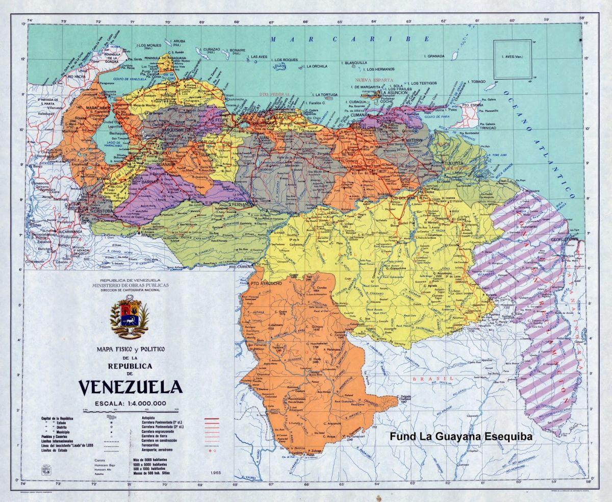 1965 MAPA  POLITICO DE  LA REPUBLICA DE VENEZUELA 1965