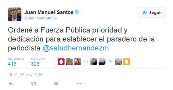 Santos periodista secuestrada