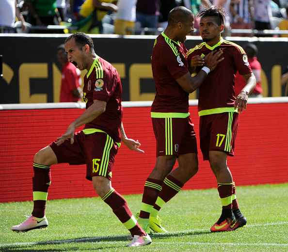 CHICAGO, ILLINOIS - JUNE 05: Josef Martinez of Venezuela celebrates with teammates after scoring the opening goal during a group C match between Jamaica and Venezuela at Soldier Field Stadium as part of Copa America Centenario US 2016 on June 05, 2016 in Chicago, Illinois, US. (Photo by Matt Marton/LatinContent/Getty Images)