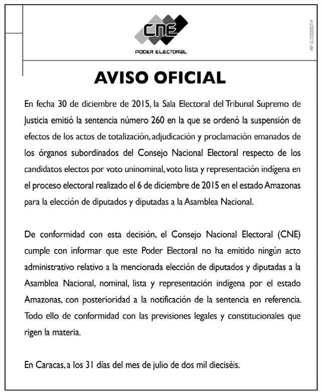 Comunicado CNE 31-07