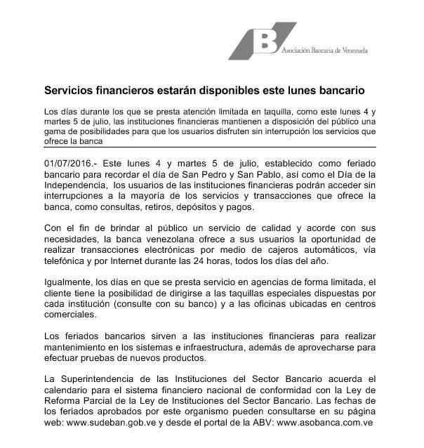Comunicado de la Asociación Bancaria de Venezuela