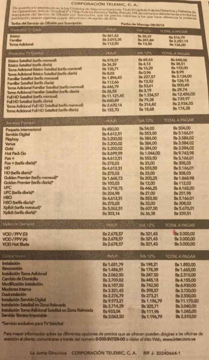 Inter y netuno aumentan precios en servicios de internet y - Precio cable tv ...