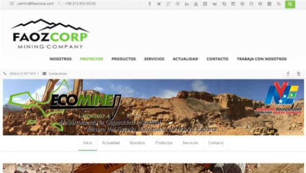 Sitios web de Faoz Corp y Ecomine