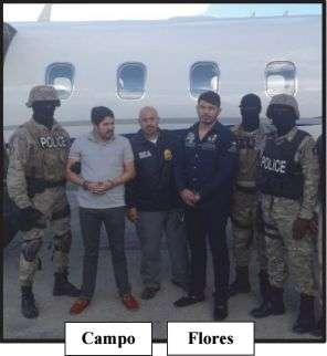 Campo y Flores con cuerpos de seguridad del Estado. Foto de los expedientes.