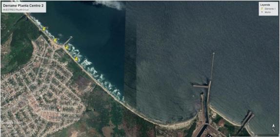 Puntos de las cuatro tomas de agua en balneario Palma Sola