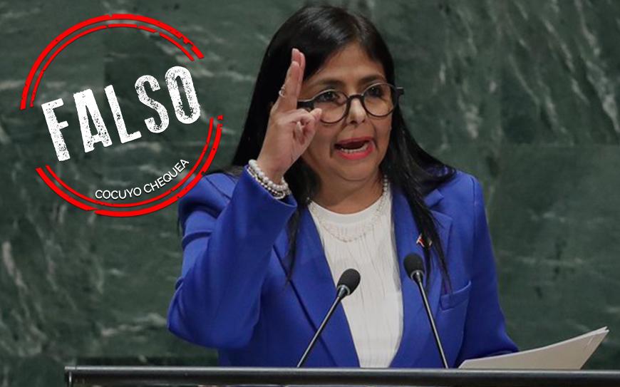 Delcy Rodríguez mostró coordenadas falsas en la ONU