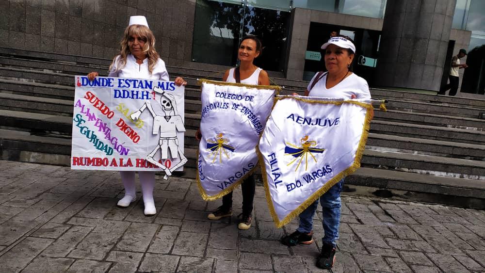 enfermeros protestan frente al PNUD en Caracas