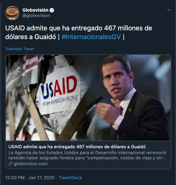 USAID no admitió dar 467 millones a la oposición
