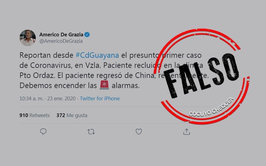 Coronavirus no ha llegado a Venezuela como se afirma en redes sociales y cadena de WhatsApp