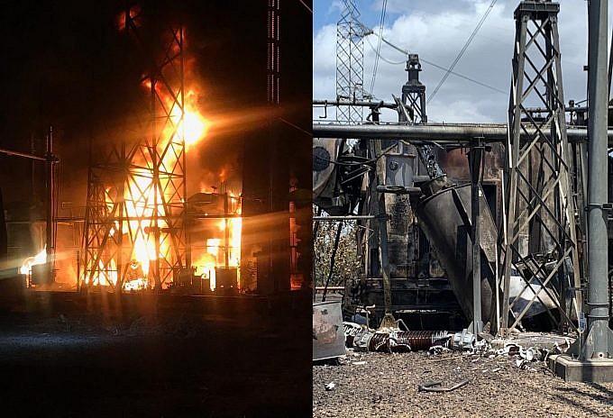 Incendio de transformador en Guri el 25 de marzo de 2019. Foto Alba Ciudad