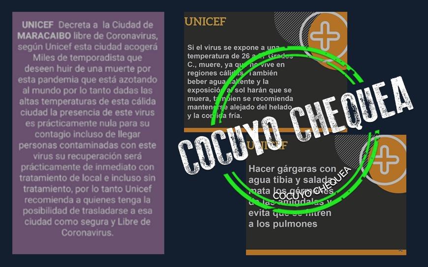 ¿Unicef decretó a Maracaibo como ciudad libre de coronavirus?