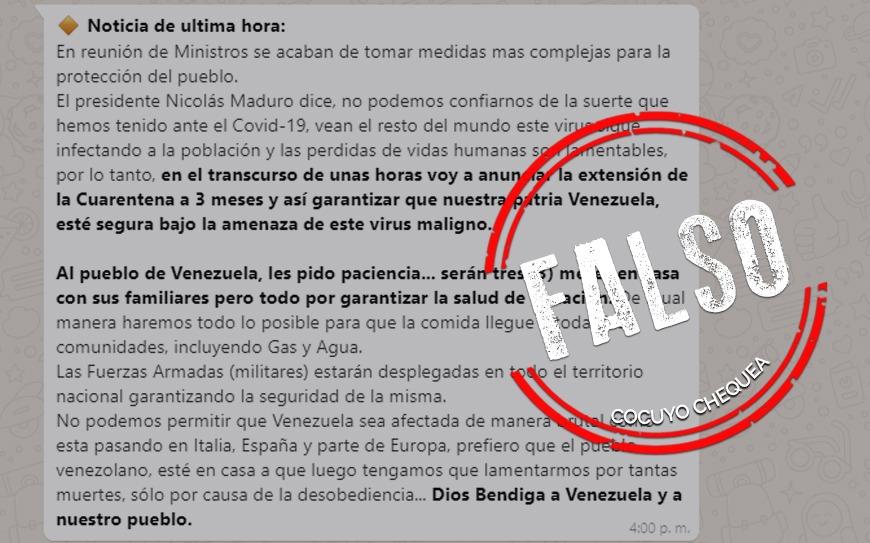 ¿Nicolás Maduro extendió la cuarentena por tres meses?