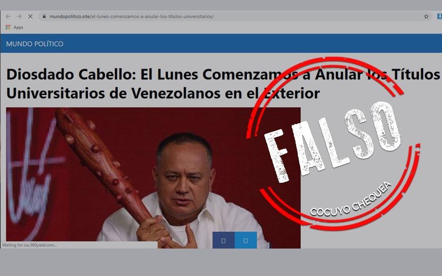 ¿Cabello aseguró que se anularán los títulos universitarios de los migrantes venezolanos?