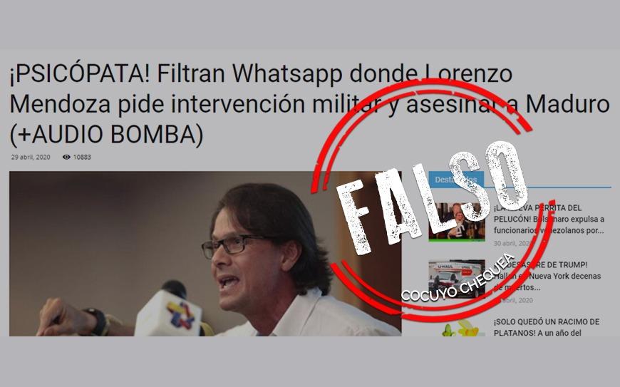 ¿Lorenzo Mendoza grabó un audio en el que pide la intervención militar?