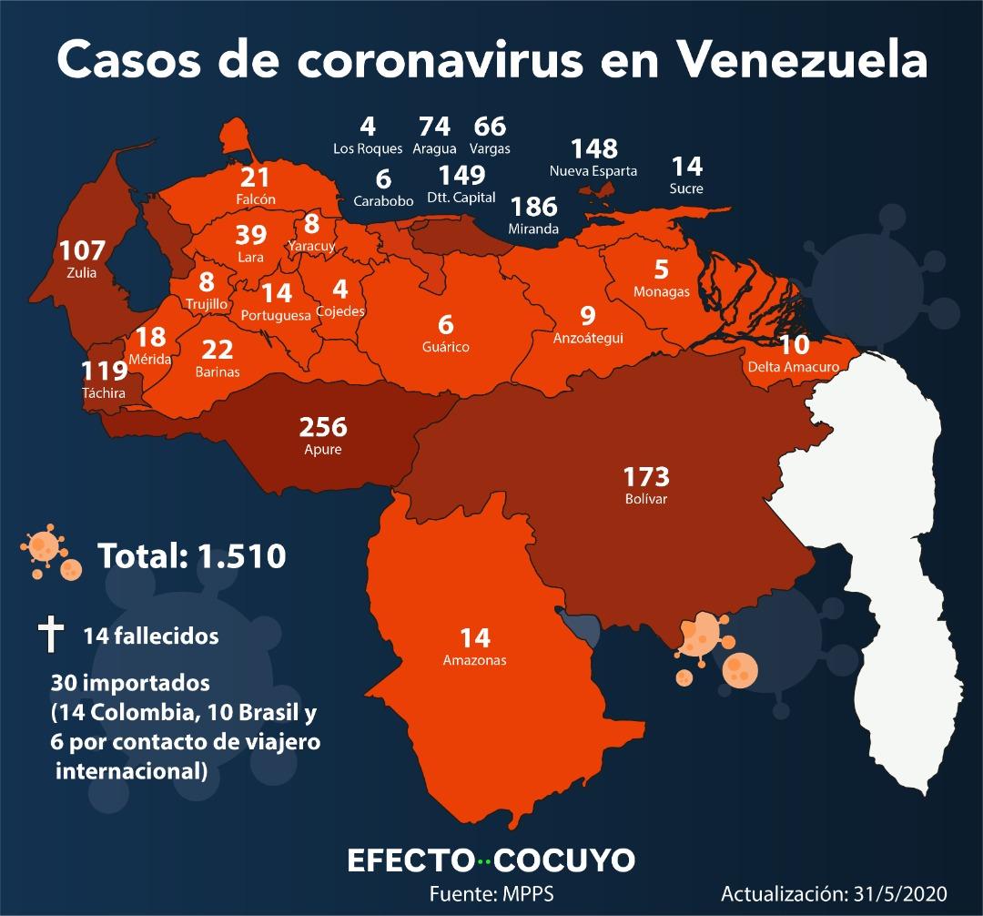 Delcy Rodríguez informa 51 nuevos casos de coronavirus en Venezuela #31May