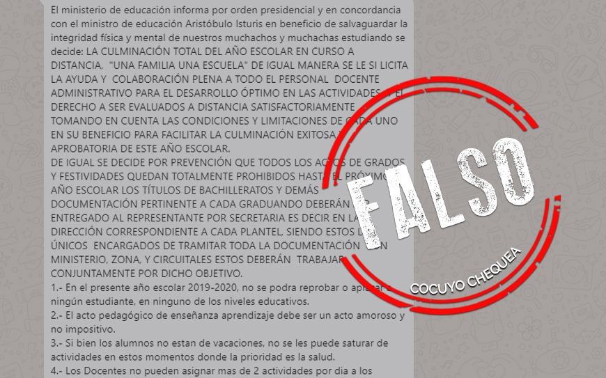 ¿Ministerio de Educación ordenó no reprobar estudiantes en cuarentena?