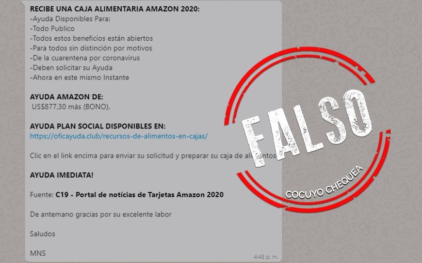 ¿Amazon está repartiendo ayudas alimentarias por el COVID-19?