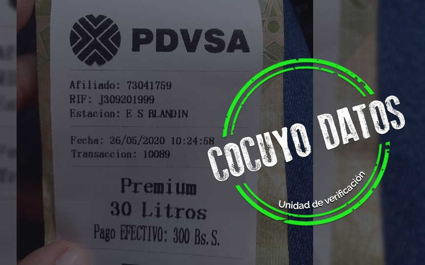 Facturas de gasolina a Bs. 10 el litro son parte de pruebas de Pdvsa