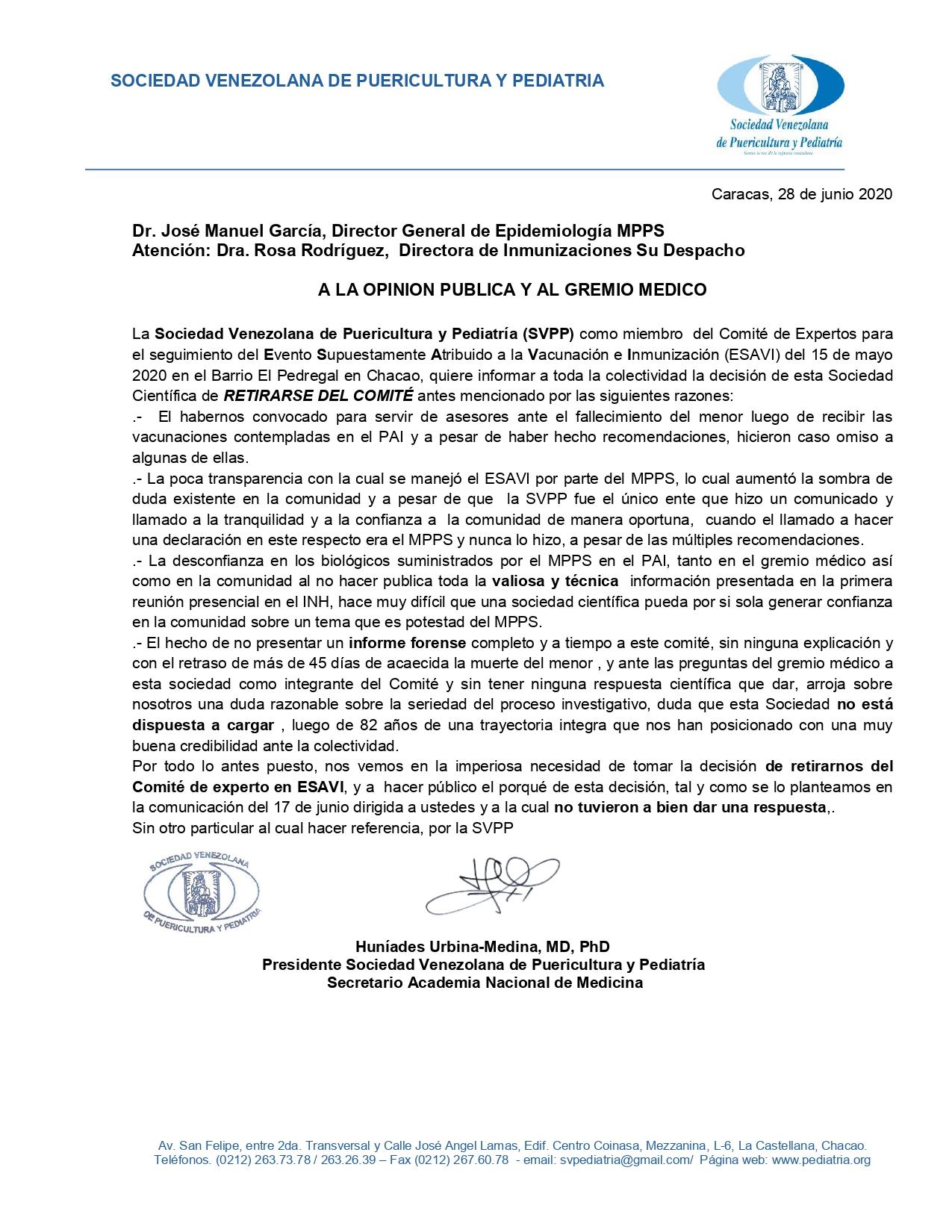 Sociedad de Pediatría advierte poca transparencia en el caso del bebé vacunado en Chacao