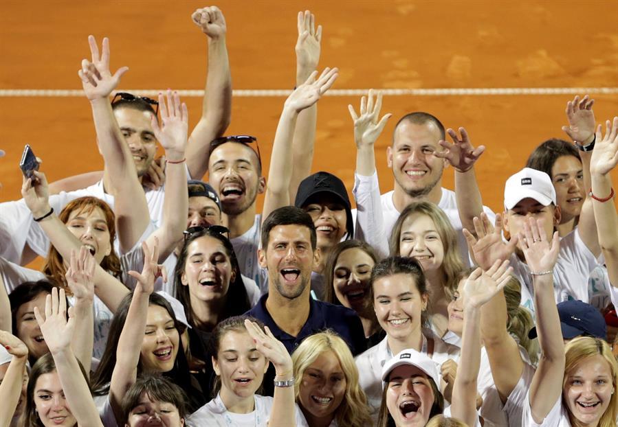 Novak Djokovic en el Adria Tour antes de dar positivo para coronavirus