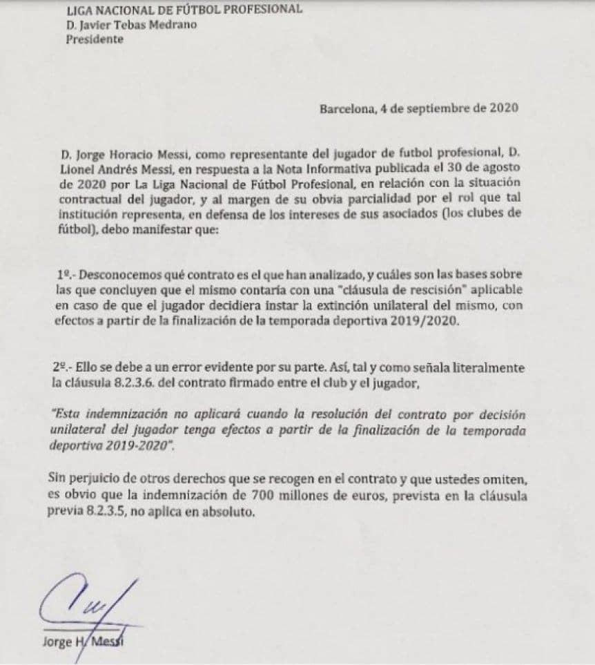 Comunicado Lionel Messi