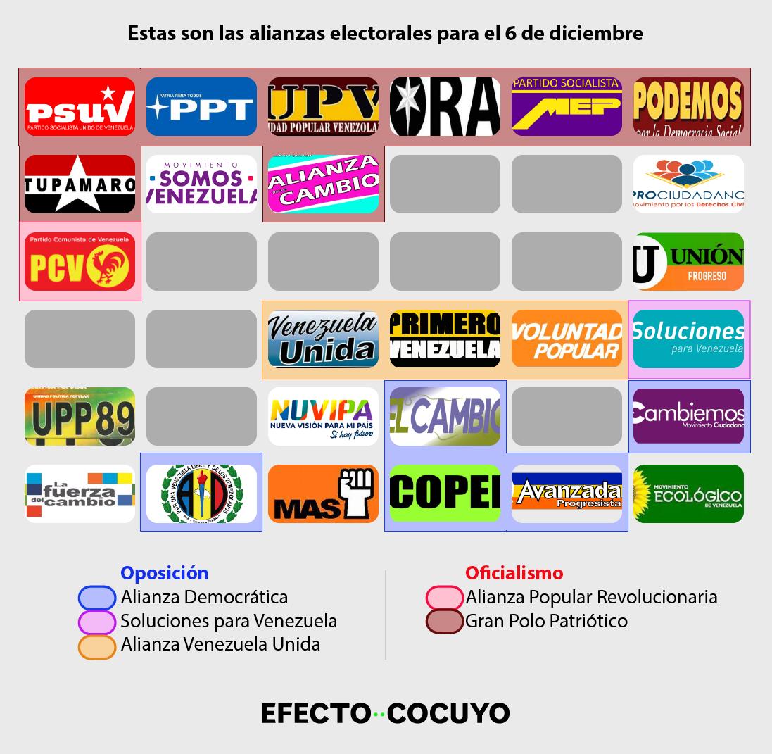 """La """"confusa"""" oferta de partidos plasmada en boleta electoral para el 6 de diciembre"""