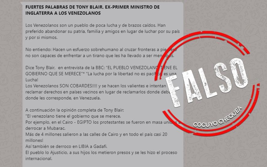 """¿Tony Blair dijo que los venezolanos son """"de poca lucha y brazos caídos""""?"""