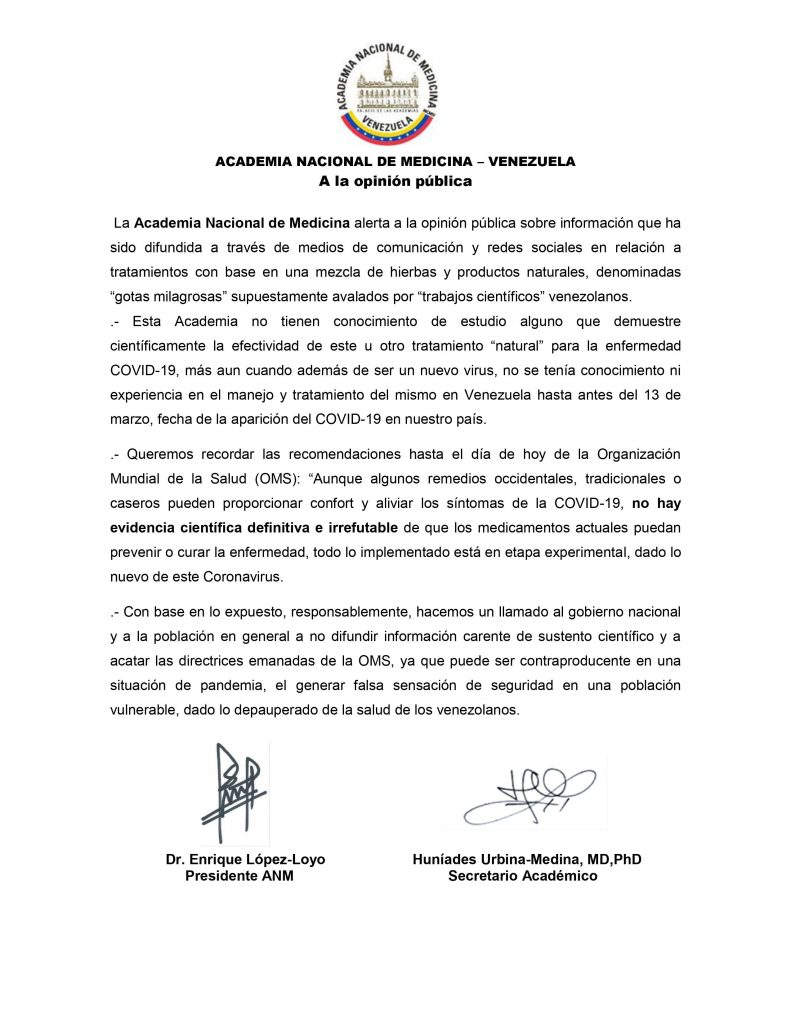 Comunicado Academia Nacional de Medicina Carvativir