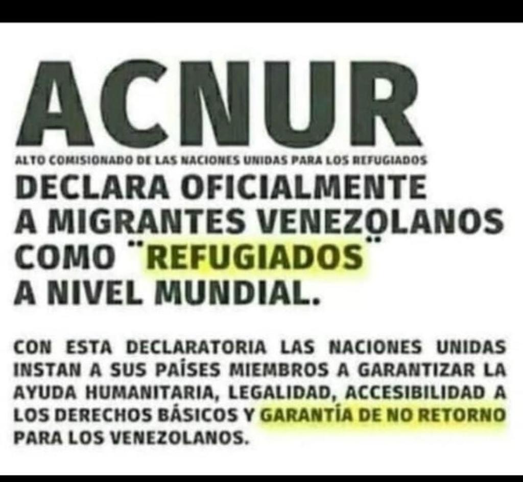 Desde 2018 ACNUR exige a los países receptores de migrantes venezolanos no deportarlos, expulsarlos, o forzarlos a retornar a Venezuela