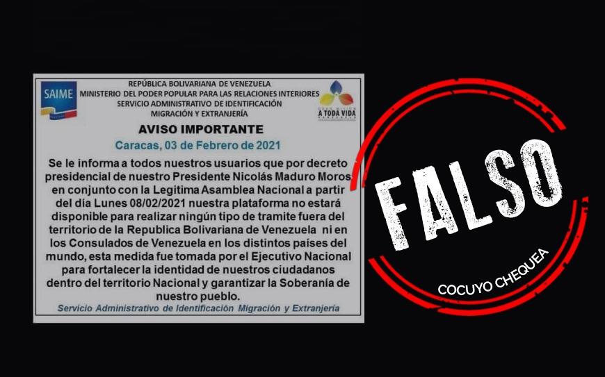 ¿El Saime bloqueó el acceso a su portal fuera de Venezuela?