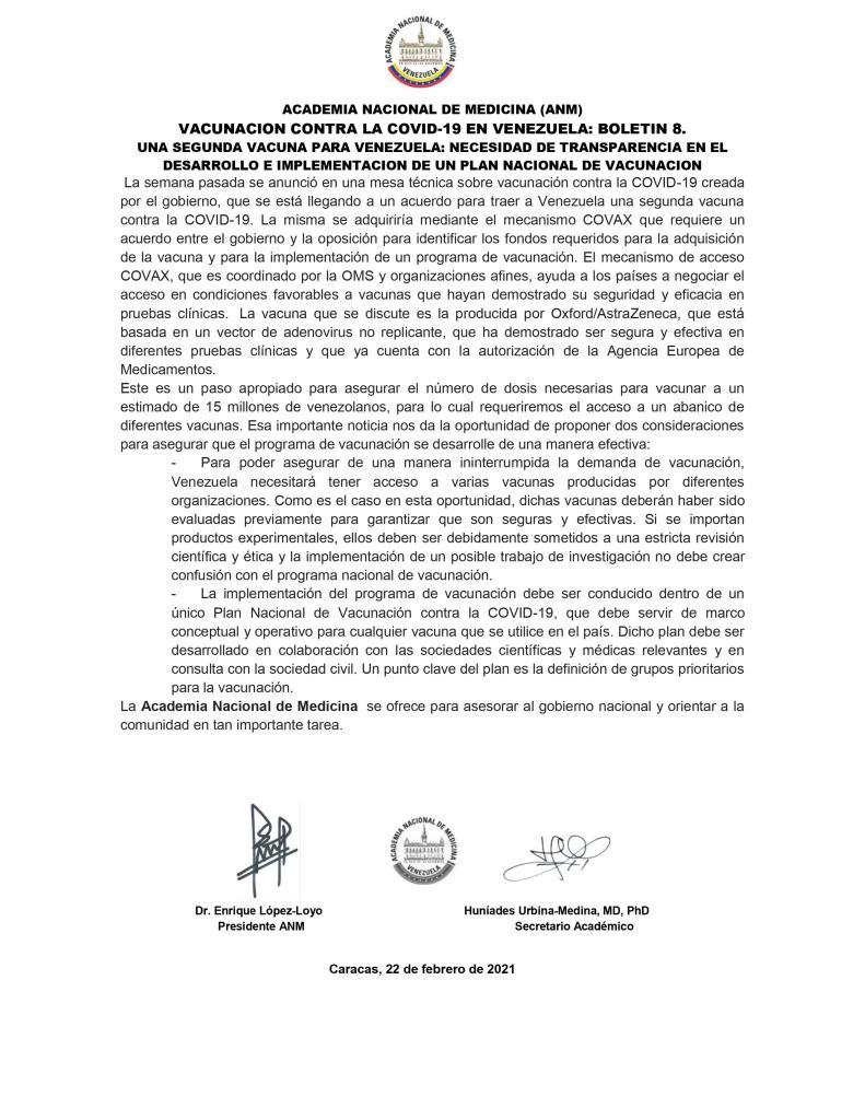 Boletín de vacunas Academia Nacional de Medicina