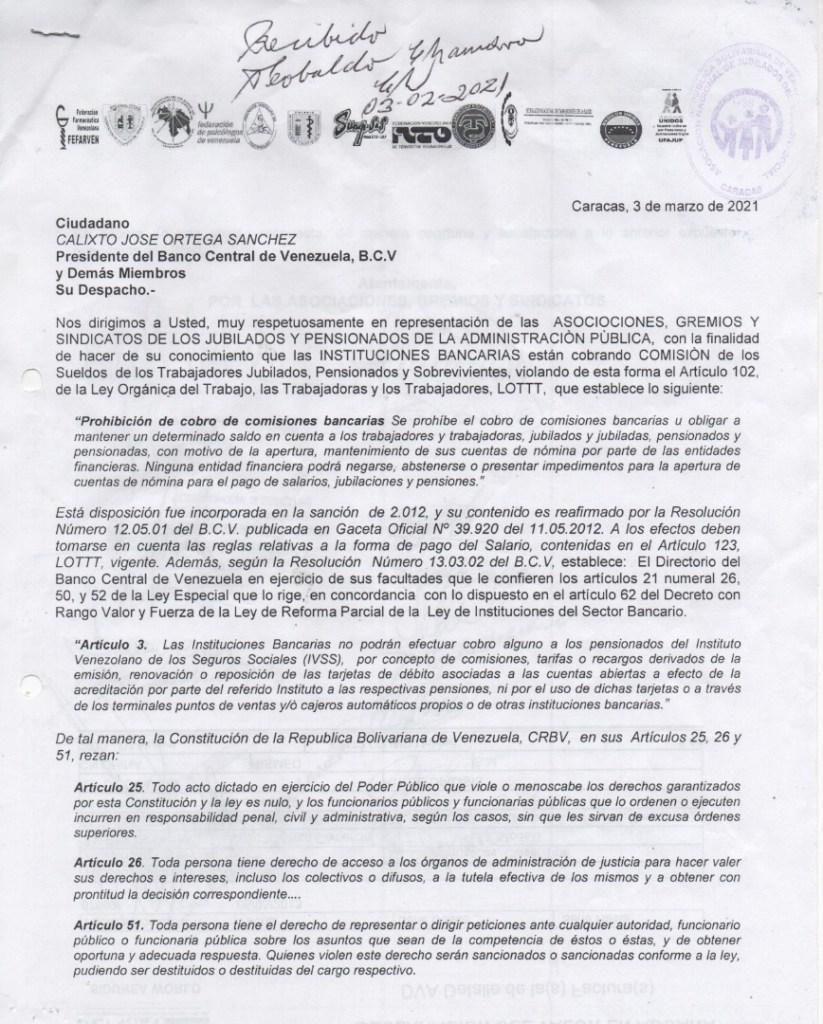 documento presentado por los jubilados ante el BCV