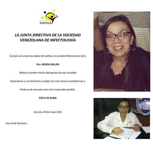 La Sociedad de Infectología destacó la trayectoria de Nedda Millán, quien atendió casos de COVID-19 en Venezuela