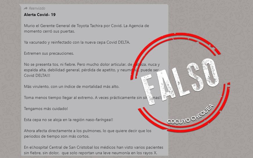 ¿Falleció el gerente de Toyota Táchira por un brote de la variante delta del COVID-19?