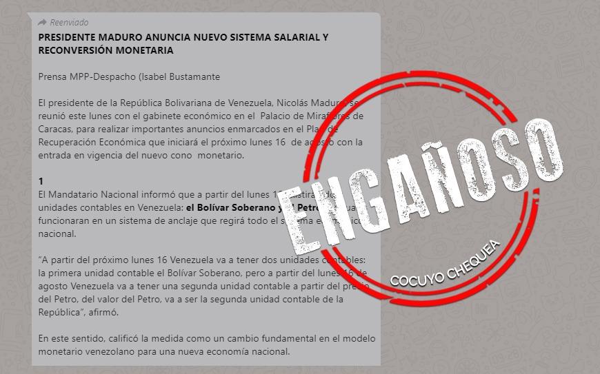 ¿Maduro anunció nuevo sistema salarial y reconversión monetaria? (Actualización)