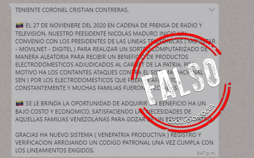 ¿Nicolás Maduro y empresas de telefonía se aliaron para realizar un sorteo de electrodomésticos?
