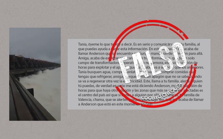 """Un video y un audio para """"Tania"""": dos mentiras que ruedan sobre el embalse del Guri"""