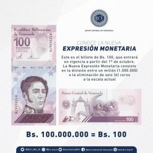 Reconversión en Venezuela: estos son los nuevos billetes que circularán desde el #1Oct