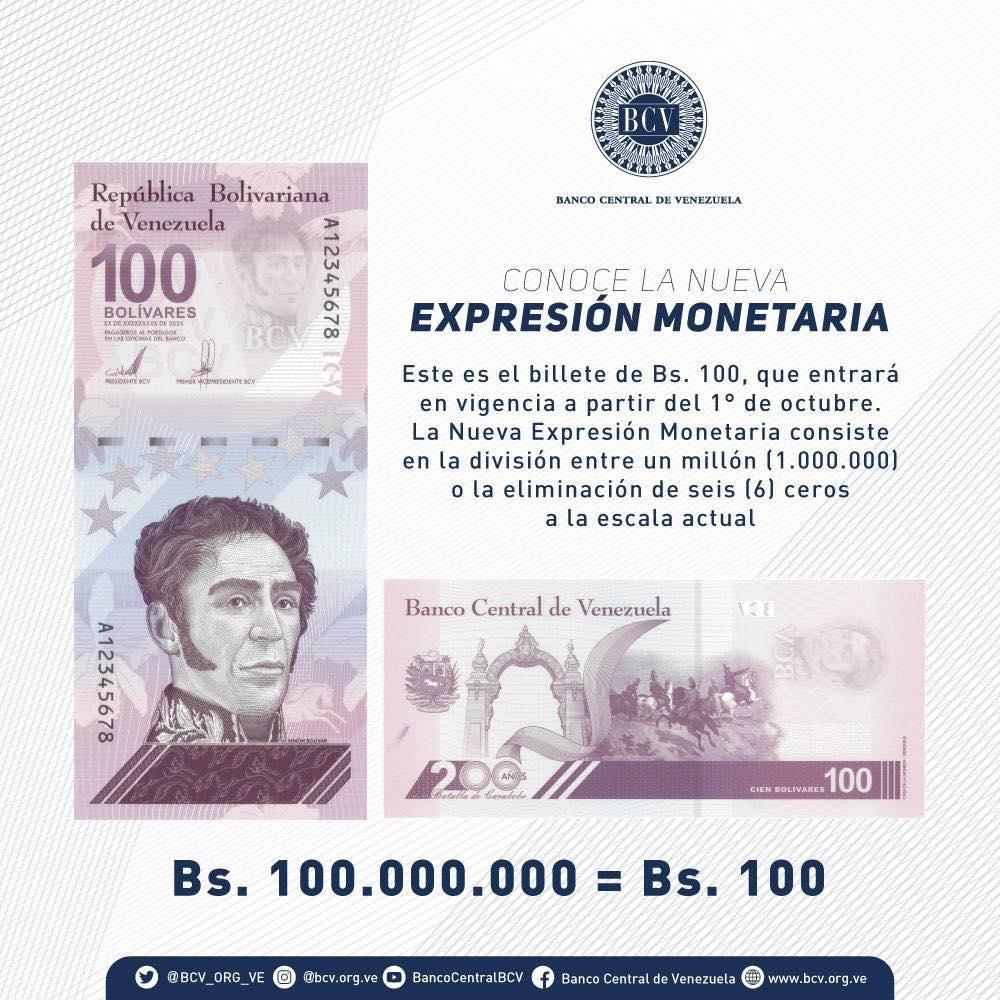 Billete de 100 bolívares