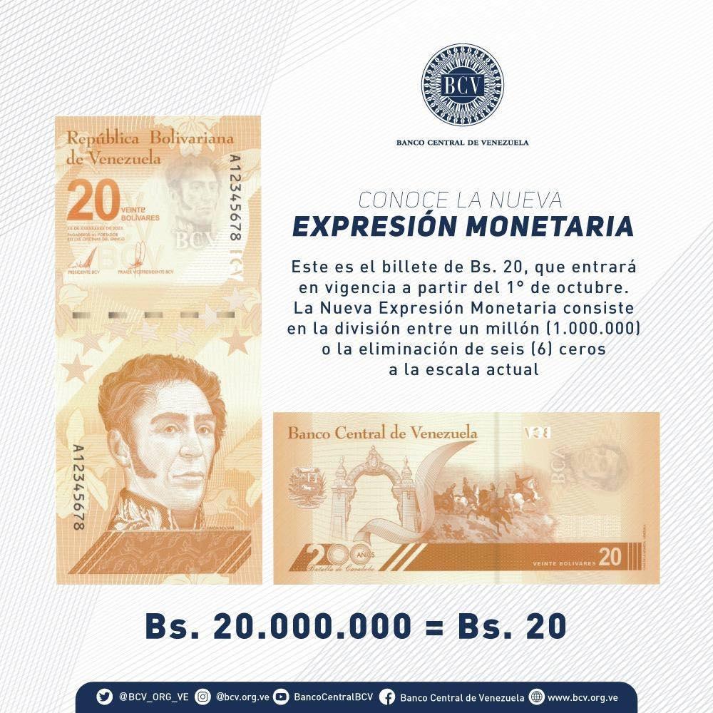 Billete de 20 bolívares