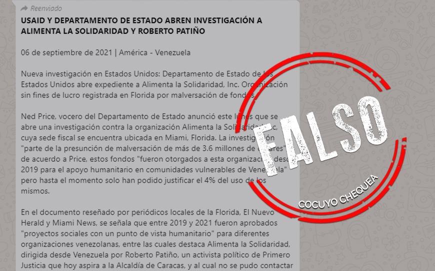 ¿Departamento de Estado de EEUU abrió investigación contra Roberto Patiño?