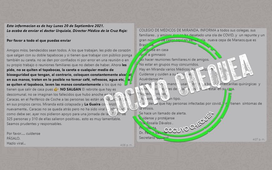 Dos cadenas sobre presuntas olas de COVID-19 en Venezuela para estar atento