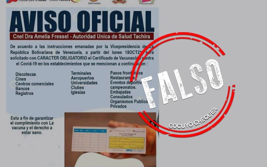 ¿Certificado de vacunación contra COVID-19 es obligatorio para ingresar a sitios públicos?